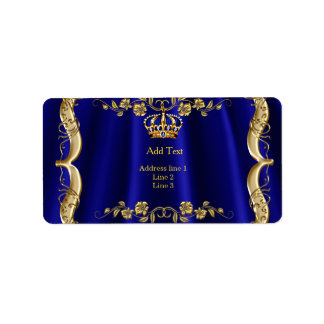Royal Blue Navy Wedding Gold Crown Label