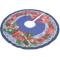 Royal Blue Ombre and Lace with Christmas Wreath Brushed Polyester Tree Skirt