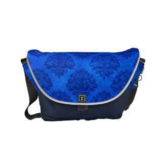 Royal Blue Ombre Grunge Effect with Damask Pattern Small Messenger Bag