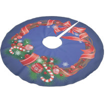 Royal Blue Ombre  with Christmas Wreath Brushed Polyester Tree Skirt
