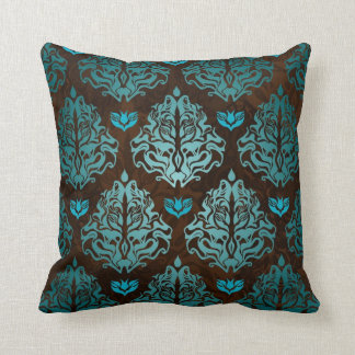 Royal Blue on Brown Retro Damask Luxury Decorative Throw Pillow