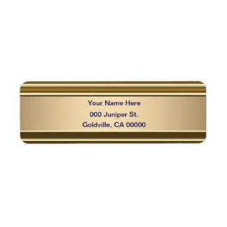Royal Blue on Gold Shine Return Address Label