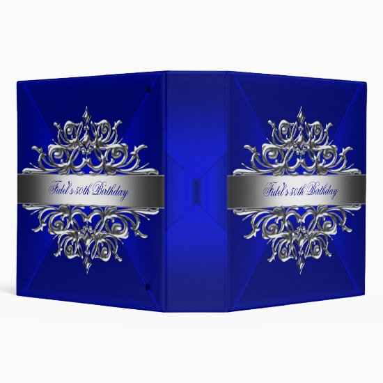 Royal Blue On Silver 50th Birthday Party 3 Ring Binder