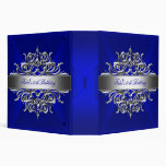 Royal Blue On Silver 50th Birthday Party Vinyl Binders