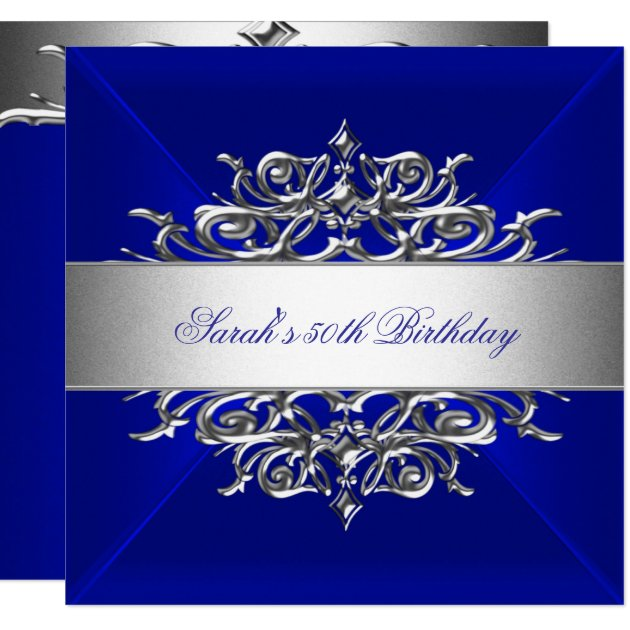Royal Blue On Silver 50th Birthday Party Card | Zazzle