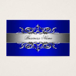 Royal Blue On Silver Elegant Business Card