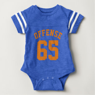 Royal Blue & Orange Baby   Sports Jersey Design Infant Bodysuit
