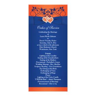 Royal Blue, Orange Floral, Hearts Wedding Program