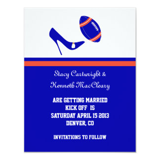 Royal Blue & Orange Football Save The Date 4.25x5.5 Paper Invitation Card