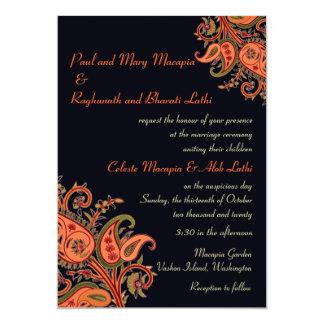 "Royal Blue Orange Paisley Floral Indian Wedding 5"" X 7"" Invitation Card"