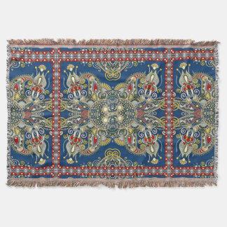 Royal Blue Oriental Design Throw
