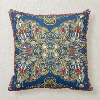 Royal Blue Oriental Design Throw Pillow