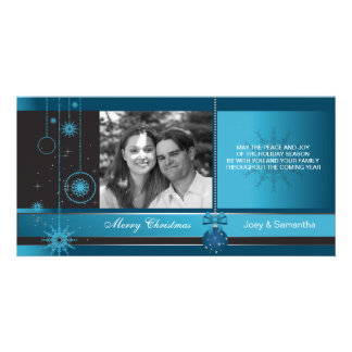 Royal - Blue ornament christmas holiday photocard Personalized Photo Card