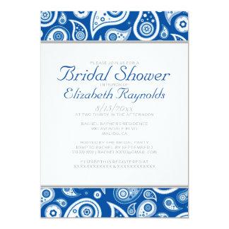 Royal Blue Paisley Bridal Shower Invitations