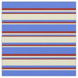 [ Thumbnail: Royal Blue, Pale Goldenrod, and Dark Red Stripes Fabric ]