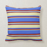 [ Thumbnail: Royal Blue, Pale Goldenrod, and Dark Red Stripes Throw Pillow ]