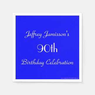 Royal Blue Paper Napkins, 90th Birthday Party Standard Cocktail Napkin