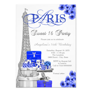 Royal Blue Paris Sweet 16 Party Card
