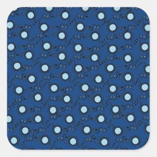 Royal blue patterns circular square sticker