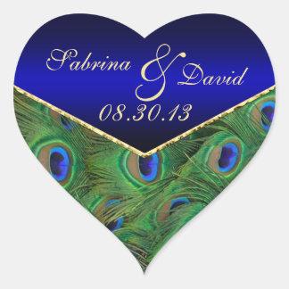 Royal Blue Peacock Envelope Seal Heart Sticker