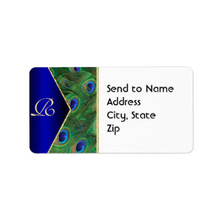 Royal Blue  Peacock Monogram Address Label Personalized Address Labels