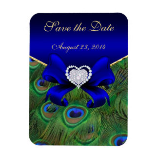 Royal Blue Peacock Save the Date Rectangle Magnets