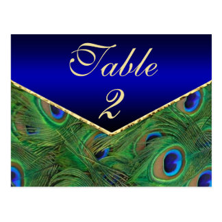 Royal Blue Peacock Table Number Card Post Card