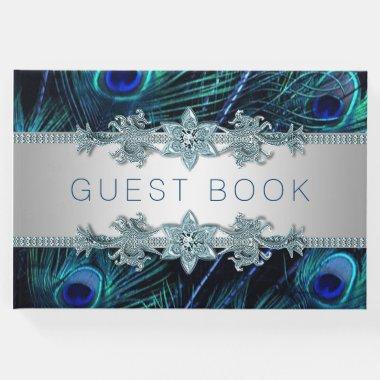 Royal Blue Peacock Wedding Guest Book