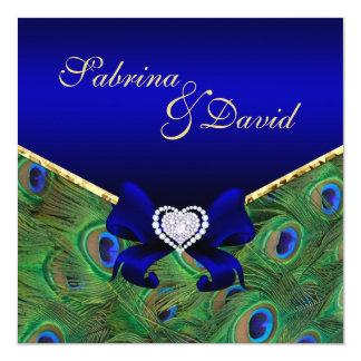 "Royal Blue Peacock Wedding Invitation 5.25"" Square Invitation Card"