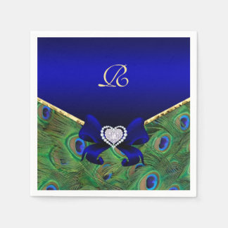 Royal Blue Peacock Wedding Paper Party Napkins
