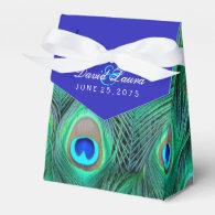 Royal Blue Peacock Wedding Party Favor Boxes