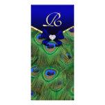 Royal Blue Peacock Wedding Program Rack Card