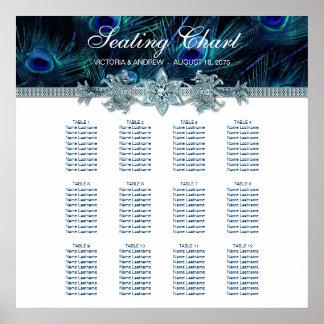 Royal Blue Peacock Wedding Seating Chart Poster
