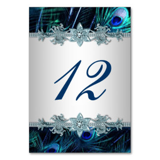 Royal Blue Peacock Wedding Table Number