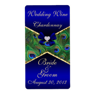 Royal Blue Peacock  Wedding Wine Label Shipping Label