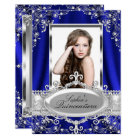 Royal Blue Pearl Silk Vintage Glamour Quinceanera Card