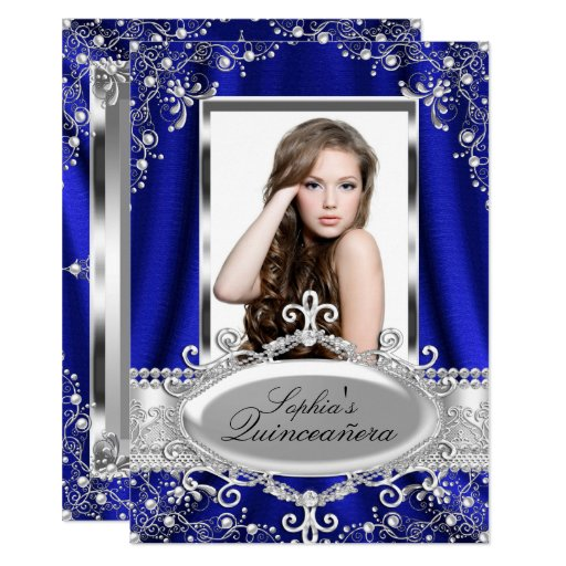 Royal Blue Pearl Silk Vintage Glamour Quinceanera Invitation