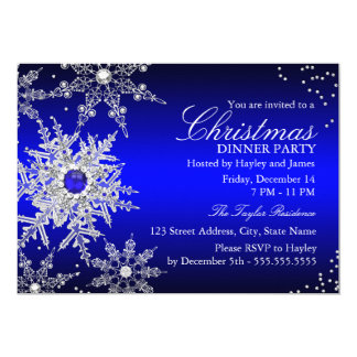Royal Blue Pearl Snowflake Christmas Dinner Party Card