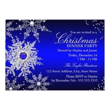 Christmas Themed Royal Blue Pearl Snowflake Christmas Dinner Party Card