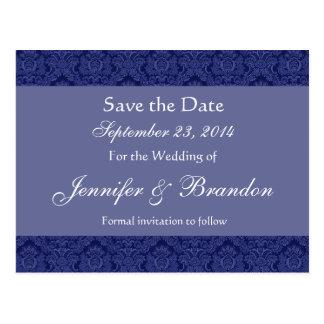 Royal Blue & Periwinkle Damask Save Date Postcard