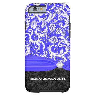Royal Blue Personalized Faux Diamond Damask iPhone iPhone 6 Case