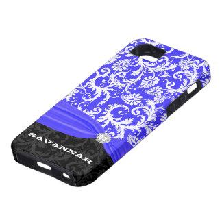 Royal Blue Personalized Faux Diamond Damask iPhone iPhone SE/5/5s Case