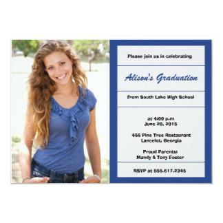 Royal blue photo graduation party invitation