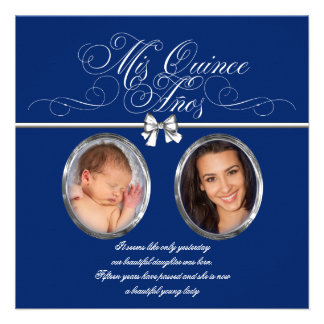 Royal Blue Photo Quinceanera Invitations