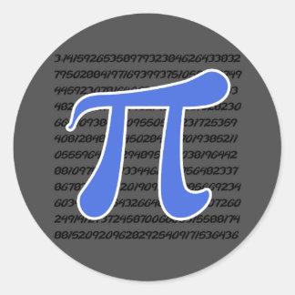 Royal Blue Pi Symbol Classic Round Sticker