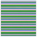 [ Thumbnail: Royal Blue, Pink, and Green Colored Stripes Fabric ]
