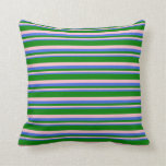 [ Thumbnail: Royal Blue, Pink, and Green Colored Stripes Pillow ]