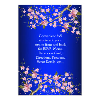 Royal Blue Pink Japanese Cherry Blossoms RSVP Card