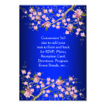 Royal Blue Pink Japanese Cherry Blossoms RSVP 3.5x5 Paper Invitation Card