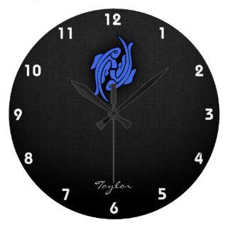 Royal Blue Pisces Large Clock